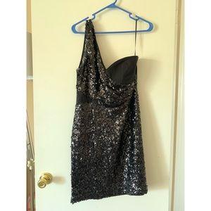 One shoulder black sequined dress